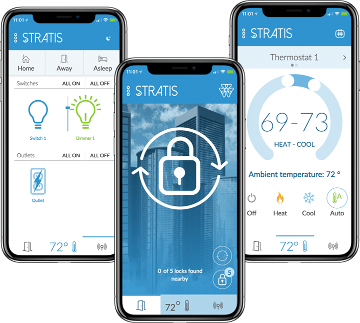 Three phones with stratis app