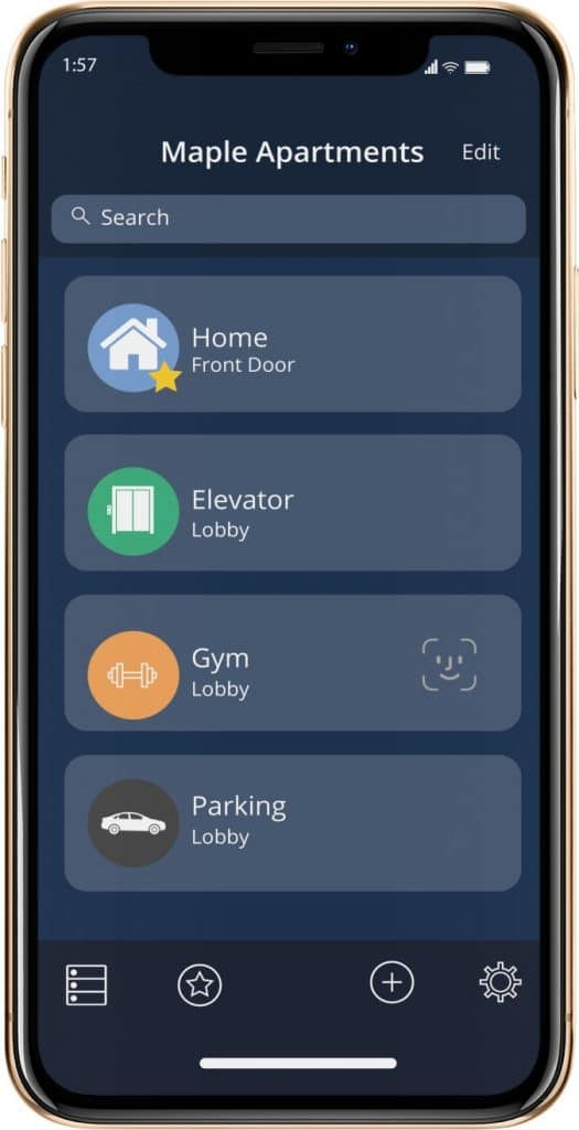 mobile phone with maple apartment app