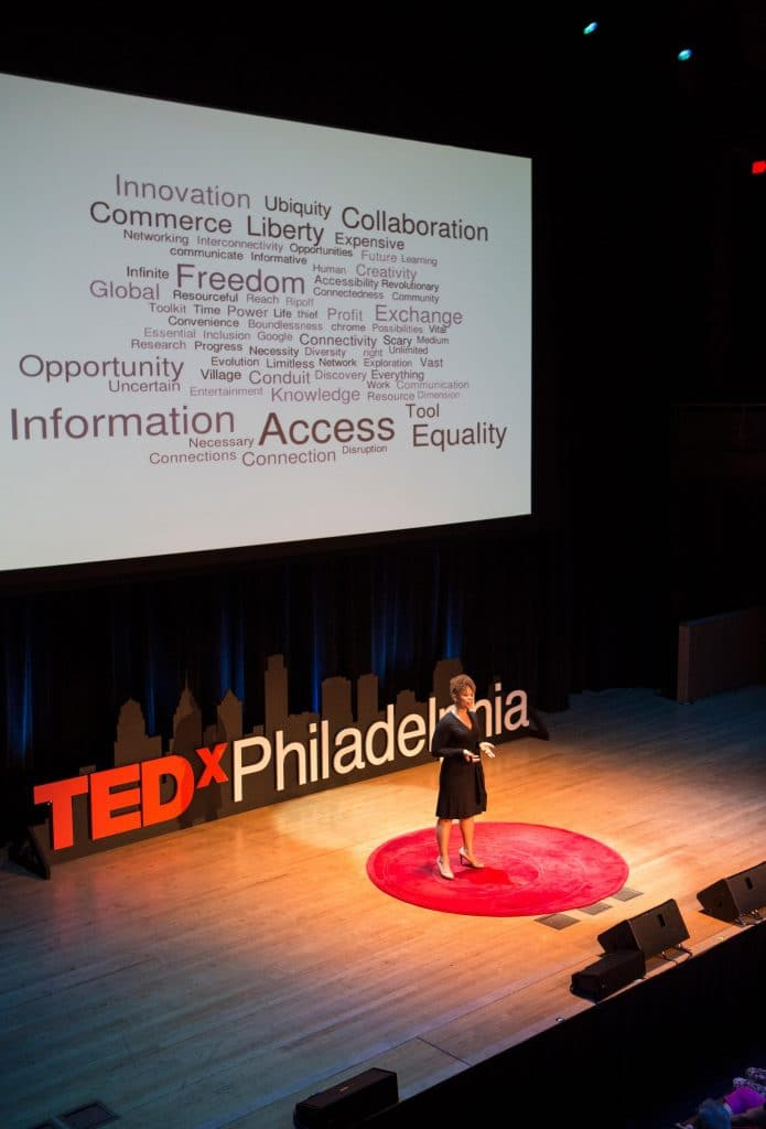 Brigitte Daniel on the stage for TED talk Philadelphia