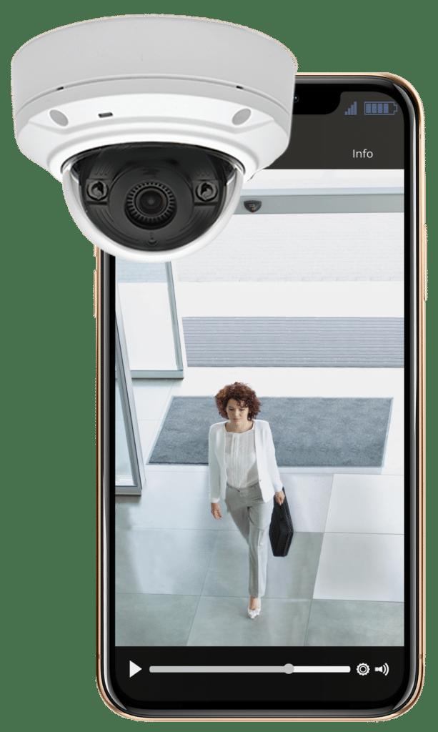 surveillance camera and a cellphone