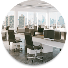 office monitor, tables and chairs