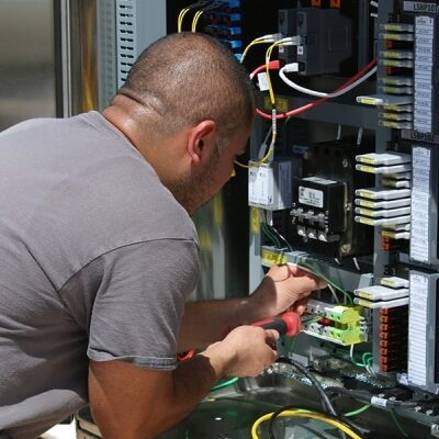 man installing some cables
